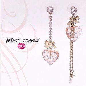 Betsey Johnson Asymmetrical Heart Earrings
